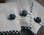 Small Linen Needle Book - ceramic Hedgehog button - navy