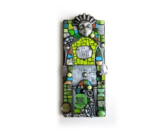 Live Green. (Unique Junk Assemblage Mixed Media Mosaic On Wood by Shawn DuBois)