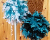 For Desiree Feather Pomanders, custom color mix, ivory, turquoise,orange, feather kissing ball, bridesmaid,flower girl, exlcusive, unique