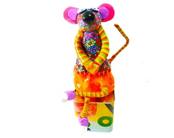 Mouse  sculpture, Animal sculpture, Mouse figure, Colorful Mouse, Shelf Sitter doll, Shelf sitter sculpture, Mouse decor, Mouse art, Mouse