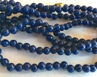 Vintage beads (400+) L-O-N-G strand  spacers cobalt navy blue opaque rounds 3mm - 50 inches (400+)