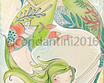 Mermaid ART, watercolor,  by Cori Dantini, Mermaid Days, Blend Fabrics - 5 x 10 - limited edition archival print