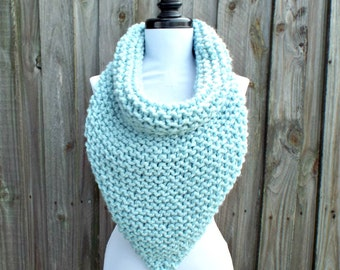 Womens Oversized Bandana Knit Cowl Glacier Pale Blue Scarf - Blue Cowl Chunky Scarf Womens Accessories Fall Fashion Winter Scarf