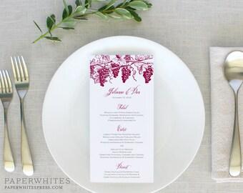 """Winery Wedding Menu, Wine Country, Vineyard, """"Winery"""" Wedding Reception Menu, California Wine Country Rehearsal Dinner Menus, Printed Menus"""