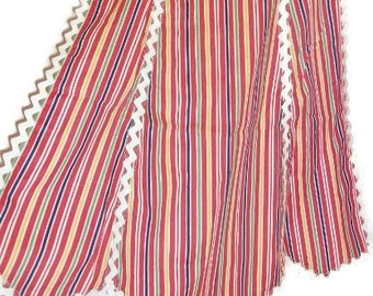 Vintage Red Striped Apron With White Ric Rac Trim