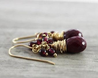 Ruby and Garnet Earrings, Ruby Gemstone Earrings, Dark Red Earrings, Gold Filled Earrings, Wire Wrap Earrings, January Birthstone Jewelry