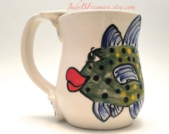 Ceramic Mug Coffee Cup with Handpainted Fish Bluefin Trevaly Ready to Ship 13 ounces Handmade Wheel Thrown MG 0017