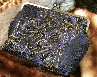 Beaded Floral Midnight Blue Party Clutch