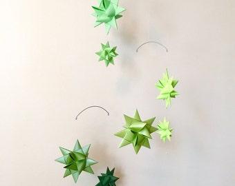 Baby Crib Mobile Origami Paper Stars -'Carina' Ombre Green