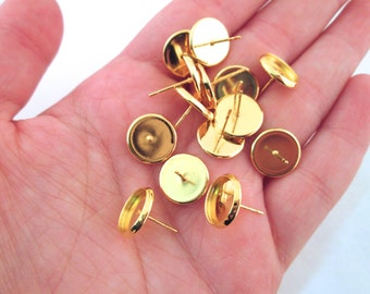 12mm bezel setting stud earrings, gold plated, with ear nuts, pick your amount, C161