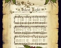 Printable Christmas Card, Silent Night, Parchment, Holly, Twigs: Original Art, Sheet Music, Christmas Carol, You Print