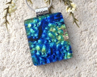 Petite Blue Green Gold Necklace, Dichroic Jewelry, Dichroic Necklace, Fused Glass Jewelry, Fused Glass Pendant, Glass Necklace, 100716p108