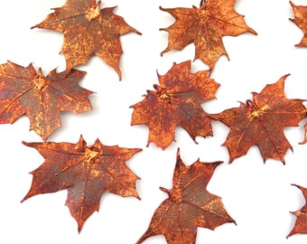 """One Copper REAL Maple Leaf Pendant - 1.75"""" to 2"""" wide - Asymmetrical-"""