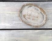 White Driftwood Ceramic Ring Bowl Trinket Soap dish Spoon Rest Bowl