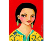 ORIGNAL portrait painting WOMAN in yellow jacket with red background acrylic painting by TASCHA
