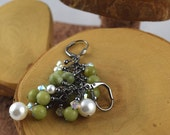 Green Serpentine and Swarovski Crystal and Pearl Glam cascade earrings perfect for prom weddings or just everyday