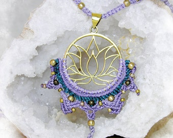 Lotus Flower (Water Lily) Pendant Macrame Lilac. Sacred. Cosmic. Boho, Bohemian neklace. Lotus necklace. INCLUDED SHIPPING