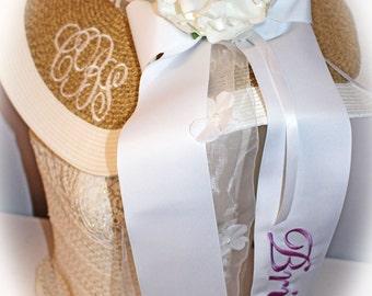 Monogrammed Bridal Bride Wedding Floppy Wide Brim Hat, Monogrammed Bride Ribbon, Kentucky Derby Theme,  Rhinestone Flower, Long Ribbon Tails