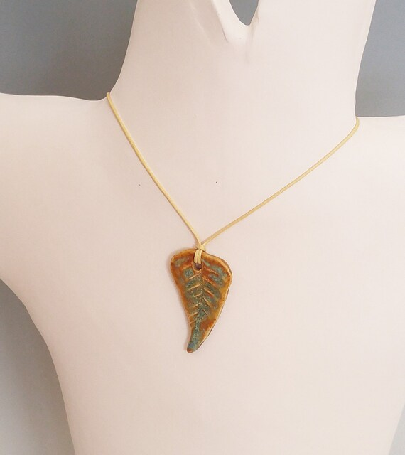 Pendant - Pendant Necklace - Jewelry - Jewellery - Ceramic Jewelry - Fern - Fern Pendant - Fern Jewelry - Adjustable - Pottery Jewelry