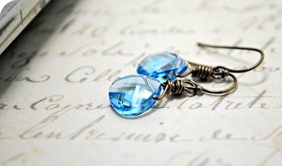 Aquamarine Earrings, Swarovski Briolette Crystal Earrings, Brass Earrings, Shabby Chic, Vintage Inspired Earrings, Simple Petite Drops
