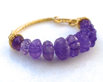 Royal Antique Amethyst Carved Bead Bracelet, 22kg Vermeil, Gorgeous Fine Gemstone Jewelry...