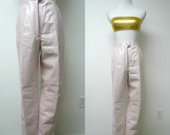 """Mitrani . pink pearl leather pants . size 6 . high waist 26"""" . length 40.5"""" . made in USA"""
