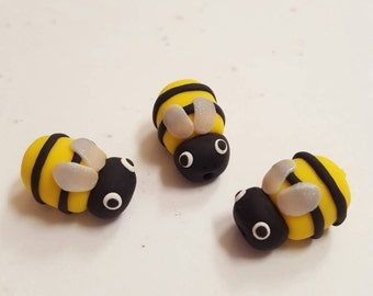 Polymer Clay Bumble Bee Beads/ Set Of Three/ 19mm Handmade Bees/ Jewelry Supplies/ Beads/ Yellow And Black/ Beading