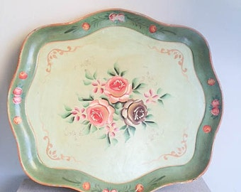 Pretty Vintage 50s Paper Mache Shabby Chic Floral Plate Tray