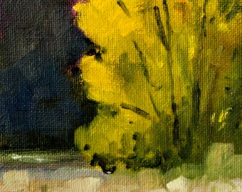 Tree Landscape Painting, Original Small Oil, 4x6 Canvas, Golden Leaves, Yellow Green, River Reflection, Woodland Nature Scene, Wall Decor