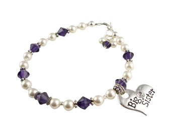 Purple pearl Big Sister Bracelet, Swarovski Crystal and Pearl, Big Sis silver charm, sterling silver choose your colors