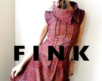 La Frontera  - iheartfink Handmade Hand Printed Womens Sleeveless Metallic Dark Red Asymmetric Cowl Dress