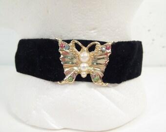 Vintage Coro choker, black velvet choker, butterfly and rhinestone choker, vintage costume jewelry signed Coro, velvet ribbon necklace
