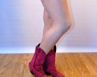 Us 8 Uk 6 Eu 38 purple suede cowboy boots // USA MADE // fauxyfurr vintage cb14-1215RB