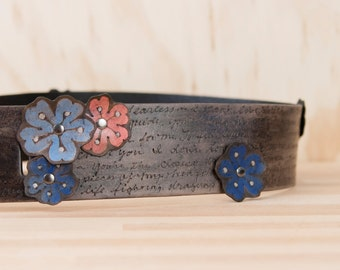 Custom Guitar Strap // Leather Guitar Strap in the Personalized Smokey Sakura Pattern with Flowers