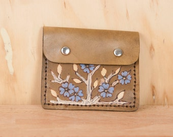 Front Pocket Wallet - Leather in the Winter pattern with branches and flowers - Brown, gold and purple-blue
