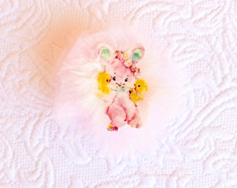 Bunny Chicks Easter Spring Pastel Rhinestone Tulle Brooch Pin Sweet Glitter Sparkle Tulle Jewelry Child Adults Kitsch