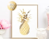 Gold Pineapple Print - Tropical Pineapple Print - REAL GOLD FOIL - Minimalist Art Print - Modern Home Decor Luxe Wall Art