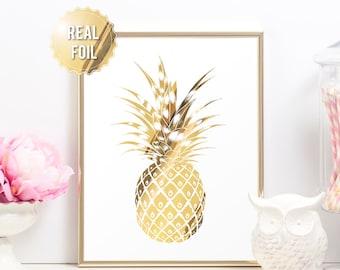 Gold Pineapple Print - Tropical Pineapple Print - REAL GOLD FOIL - Minimalist Art Print - Modern Home Decor Luxe Wall Art