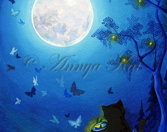 Butterflies and Fairy Lanterns - Serene Soft Blue Bed Time Lantern & Butterfly  Moonscape - Giclee Painting Print