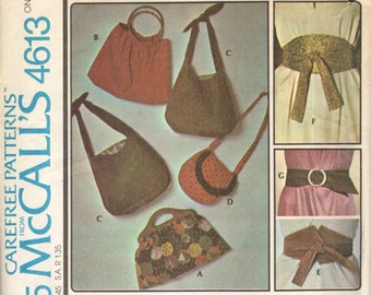 McCall's 4613 Accessories: Bags and Belts circa 1975