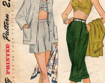 Simplicity 3250 BLAZING HOT Pedal Pushers, Halter Bra Top, Shorts & Jacket Bust 38 ©1950