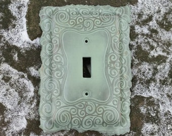 Teal Silver Swirl Light Switchplate Switch Plate Cover Polymer Clay
