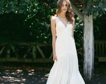 Sample SALE -Silk Chiffon, Drop-waist wedding gown with straps- Eden