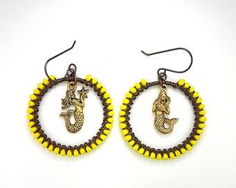 Yellow Mermaids Hoop Earrings, Nautical Earrings, Fantasy Earrings, Mermaid Jewelry, Nautical Earrings, Nautical Jewelry, Fantasy Jewelry