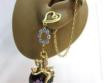 Fairy Ear Cuff, Blue Fairy Earrings Jewelry, Fairy Cuff Earring, Blue Cuff Earring, Ear Wrap, Blue Woodland Earrings, Enchanted Jewelry