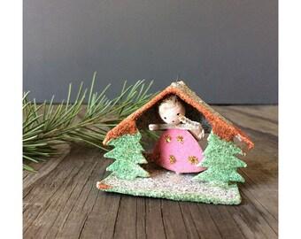 Putz House Ornament - Pink Angel