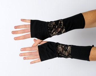 Black lacy armwarmers, Black patchwork gloves, Jersey and lace fingerless gloves, Black patchwork wrist warmers, Black fingerless armwarmers