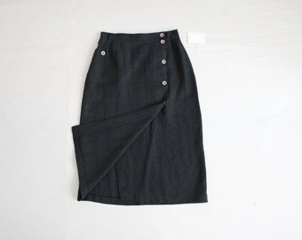 black linen skirt | high waist skirt | 90s linen skirt