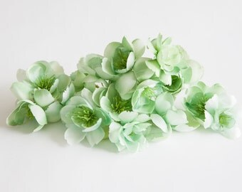 10 Wild and Whimsy Rose Blossoms in Mint Green - Silk Flowers, Artificial Flowers - ITEM 0475
