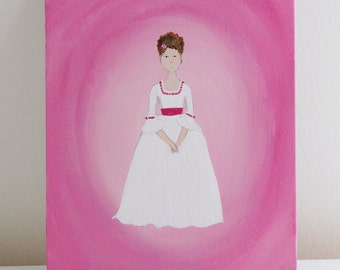 pink shabby chic   original painting   art   historical fashion   girl's room decor   rococo   marie antoinette   cottage style   hot pink